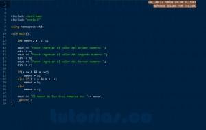 programacion en C++: el menor de tres numeros