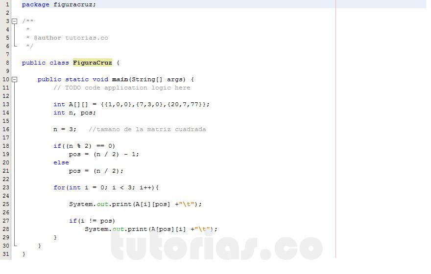 programacion en java: figura cruz en matriz
