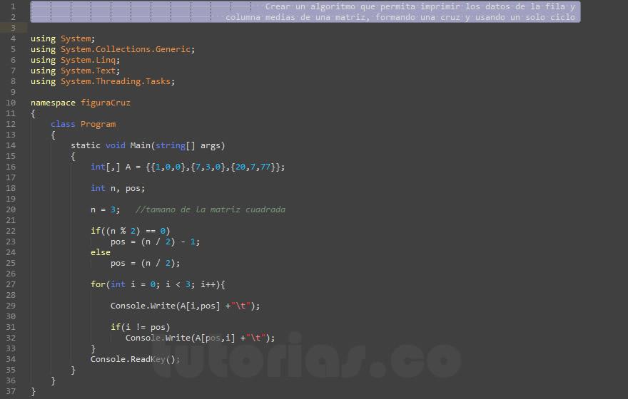 programacion en c#: figura cruz en matriz