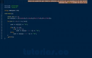 programacion en C++: imprimir datos matriz figura X