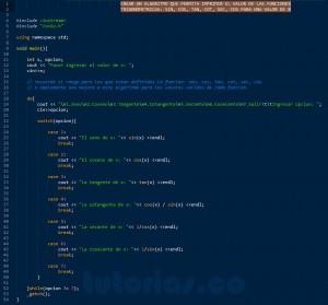programacion en C++: funciones trigonometricas