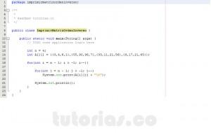 programacion en java: imprimir una matriz en orden inverso