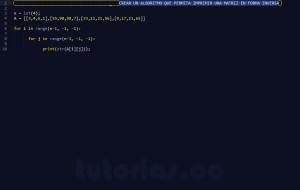 programacion en python: imprimir una matriz en orden inverso