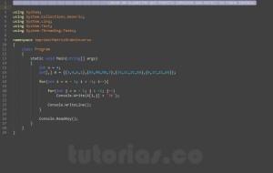 programacion en c#: imprimir una matriz en orden inverso