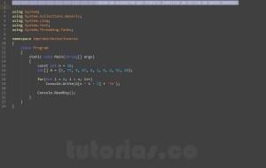 programacion en c#: imprimir un vector en orden inverso