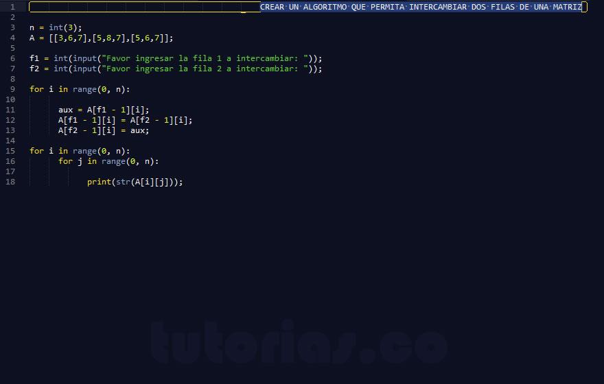 programacion en python: intercambiar filas de matriz