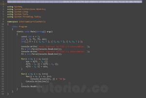 programacion en c#: intercambiar filas de matriz