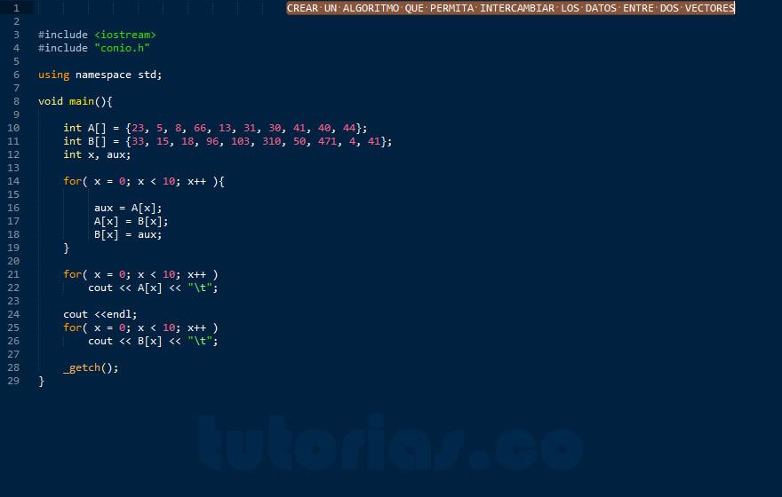 programacion en C++: intercambiar datos de vectores