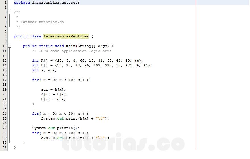 programacion en java: intercambiar datos de vectores