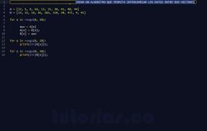 programacion en python: intercambiar datos de vectores