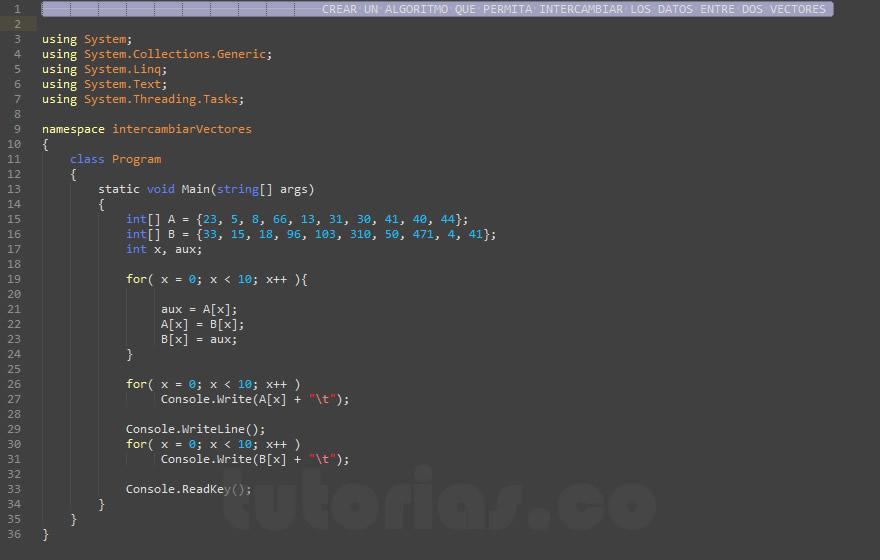 programacion en c#: intercambiar datos de vectores
