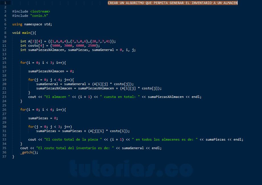 programacion en C++: inventario de un almacen