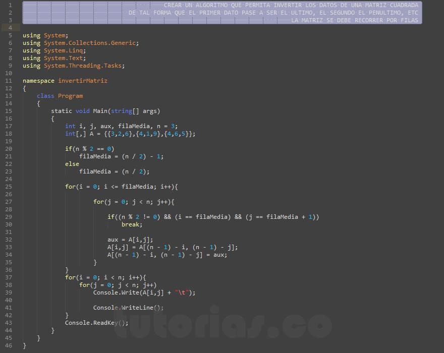 programacion en c#: invertir matriz cuadrada