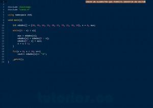 programacion en C++: invertir un vector