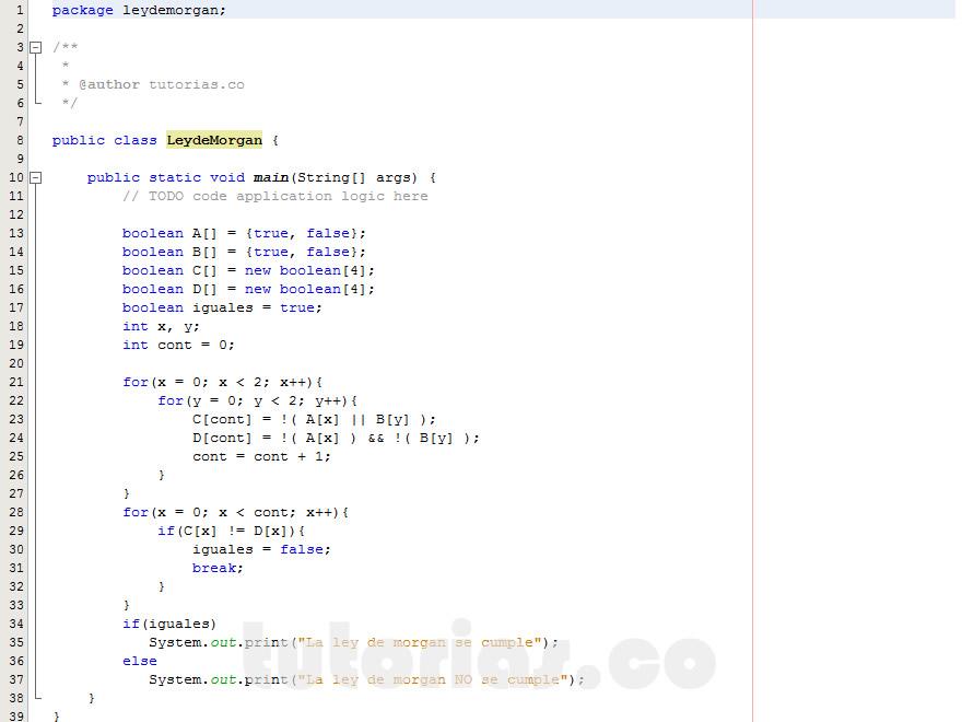 programacion en java: ley de morgan