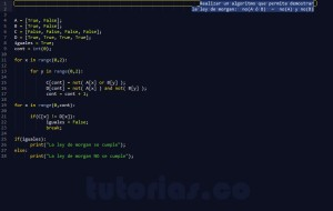 programacion en python: ley de morgan