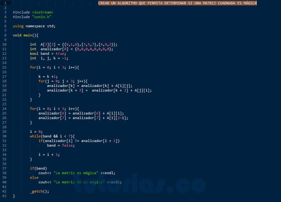 programacion en C++: matriz cuadrada magica