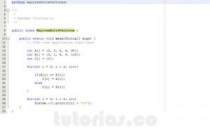 programacion en java: los mayores entre vectores respectivamente