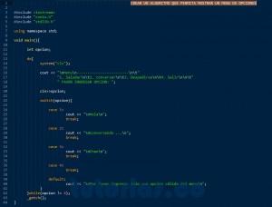 programacion en C++: mostrar un menu de opciones