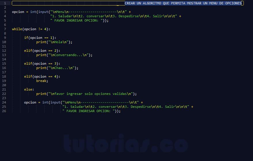 programacion en python: mostrar un menu de opciones