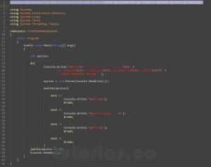 programacion en c#: menu de opciones