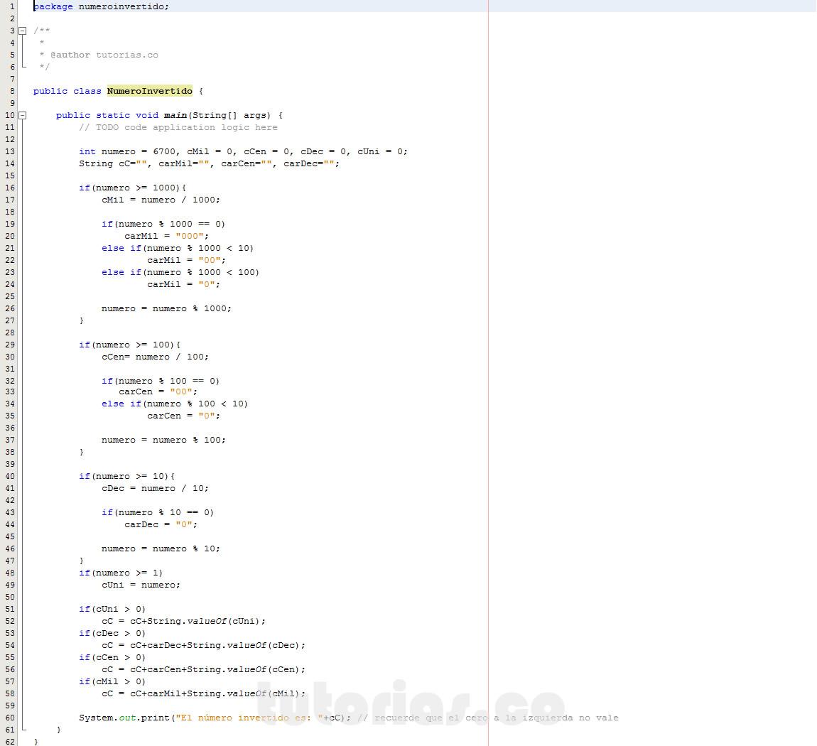 programacion en java: numero invertido