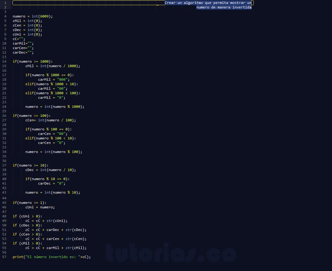programacion en python: numero invertido