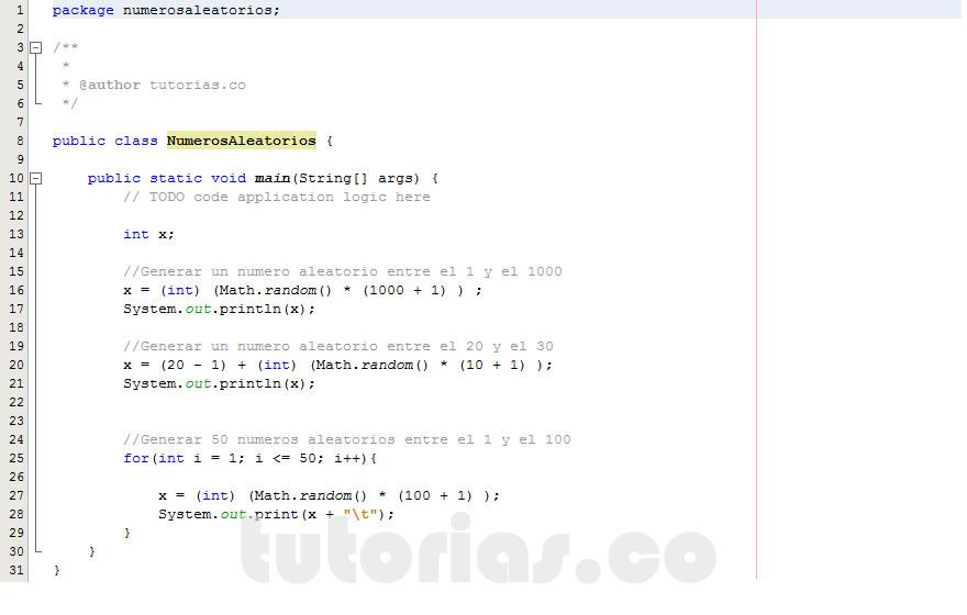 programacion en java: generar numeros aleatorios