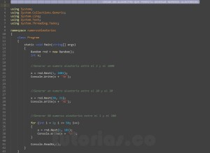 programacion en c#: generar numeros aleatorios