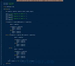 programacion en C++: tres numeros ordenados