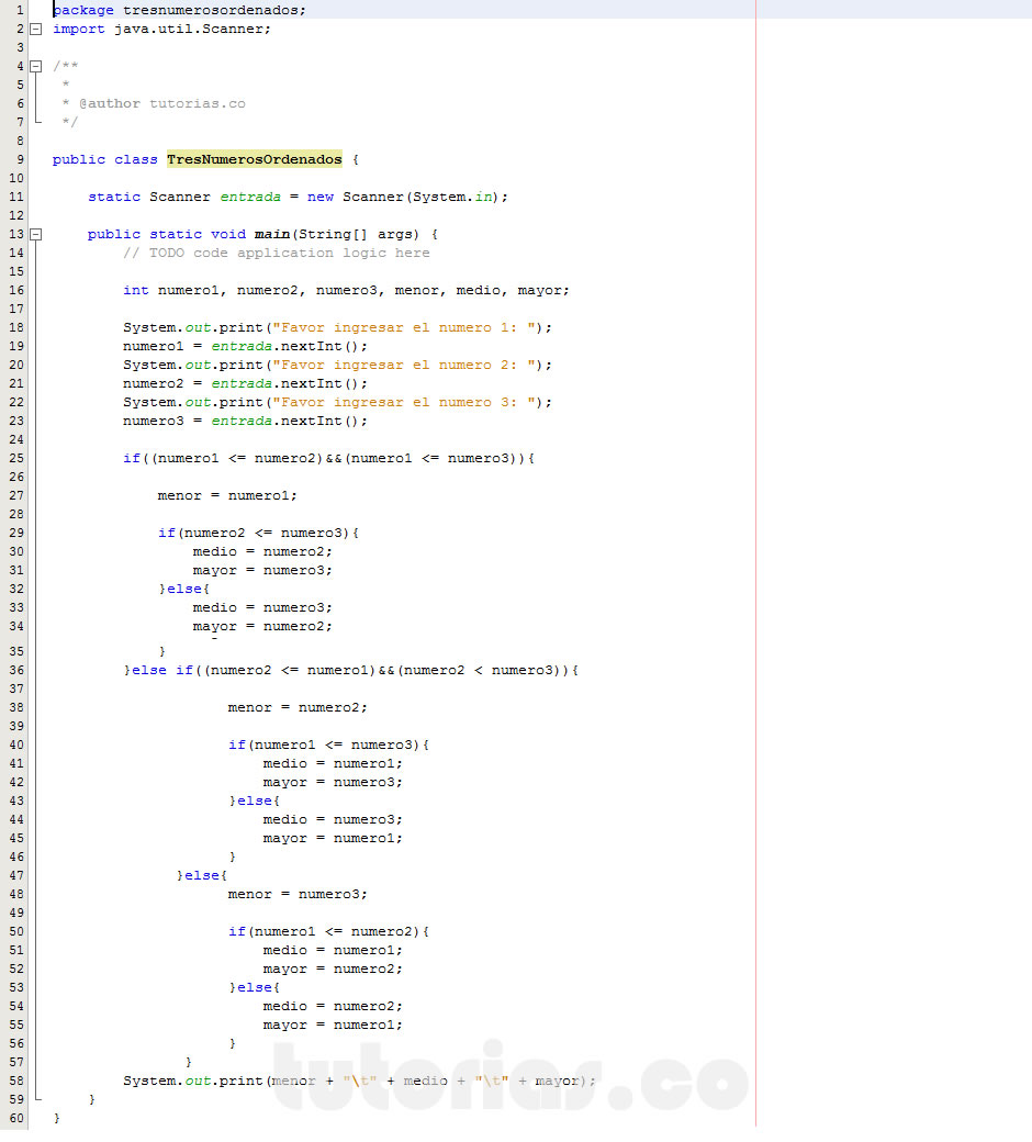 programacion en java: tres numeros ordenados