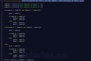 programacion en python: tres numeros ordenados