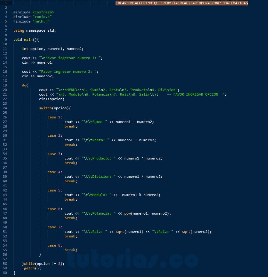 programacion en C++: menu de operaciones matematicas