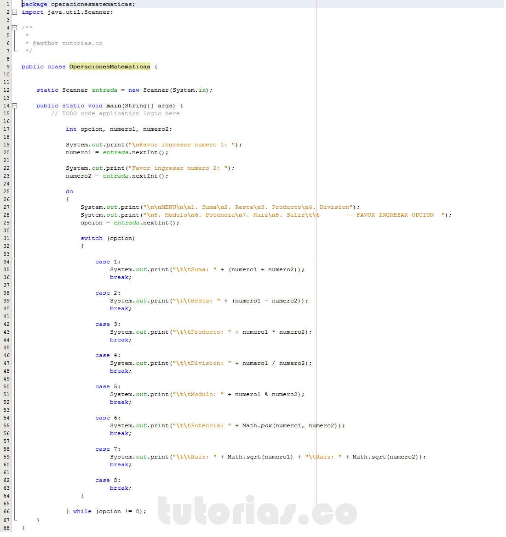 programacion en java: menu de operaciones matematicas