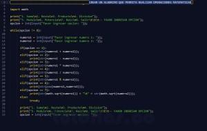 programacion en python: menu de operaciones matematicas