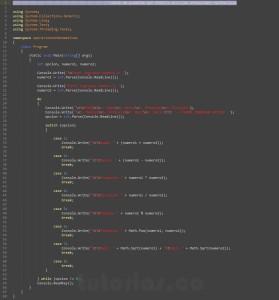 programacion en c#: menu de operaciones matematicas