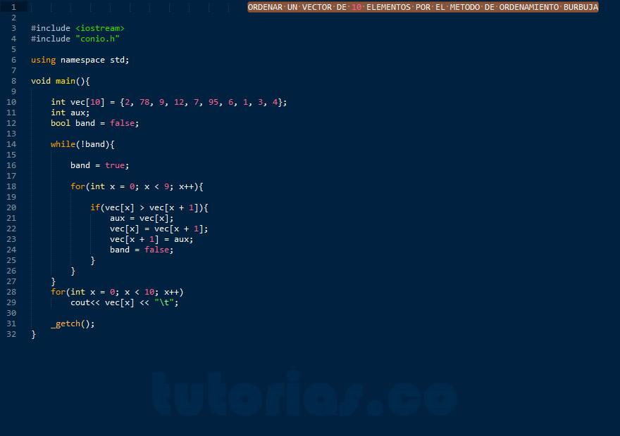 programacion en C++: ordenamiento burbuja