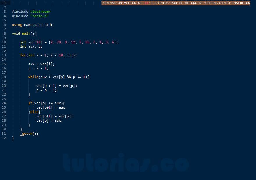 programacion c++: ordenamiento insercion