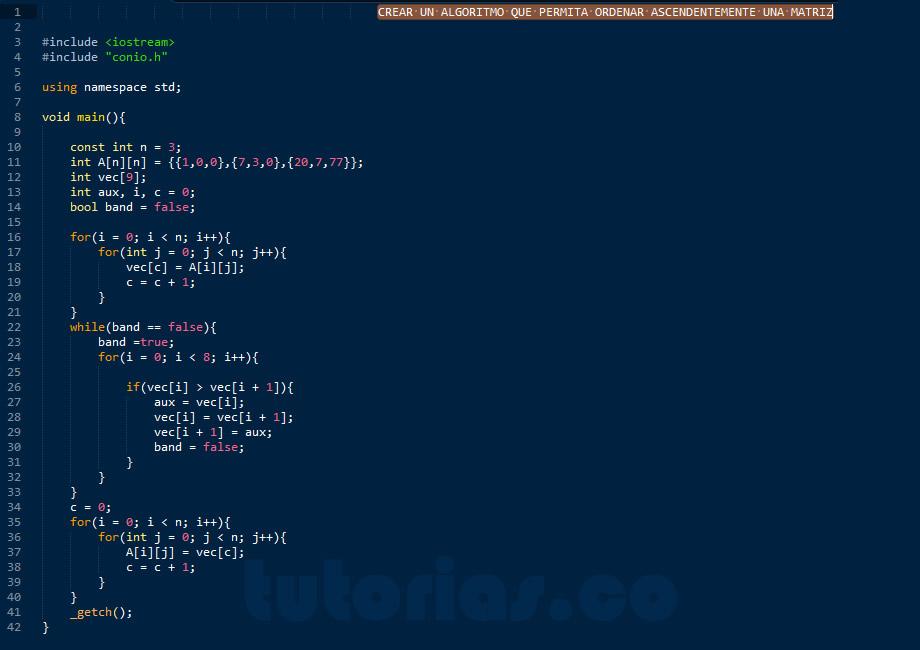 programacion en C++: ordenar los datos de una matriz