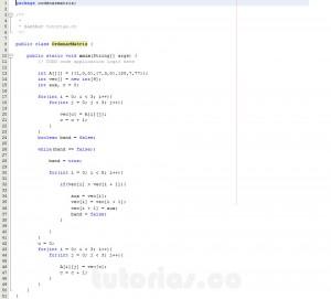 programacion en java: ordenar ascendentemente una matriz