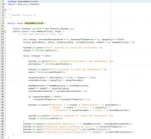 programacion en java: calcular el pago de matricula