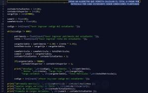 programacion en python: calcular el pago de matricula