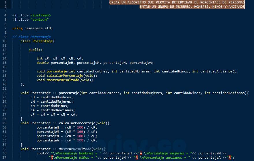 programacion en C++: porcentaje de personas