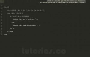 algoritmos: posiciones del vector