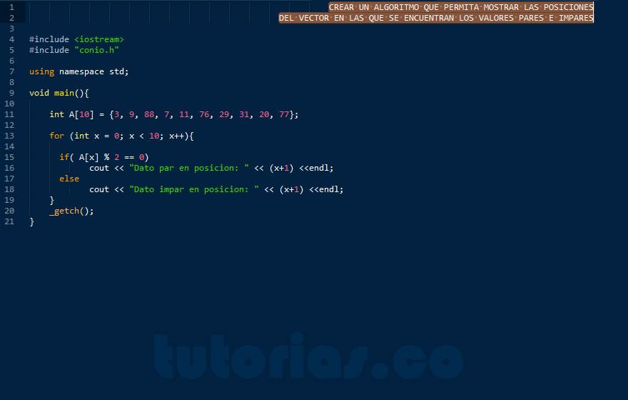 programacion en C++: posiciones vector