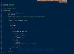 programacion en C++: primeros numeros primos