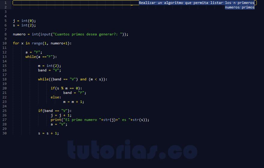 programacion en python: primeros numeros primos