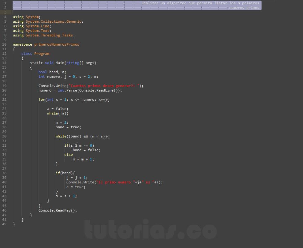 programacion en c#: primeros numeros primos