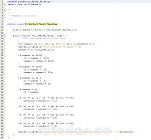 programacion en java: producto de cifras diferentes