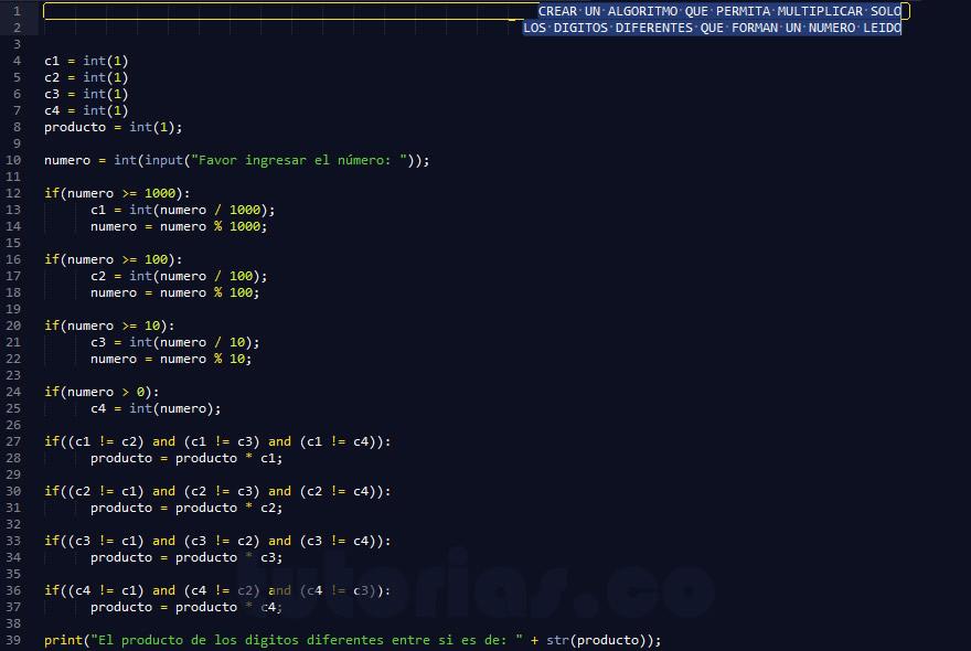programacion en python: producto de cifras diferentes